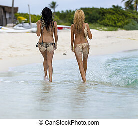 Topless Models on Beach