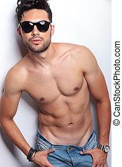 topless, olhando jovem, closeup, tu, homem
