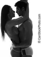 topless, pareja, enamorado