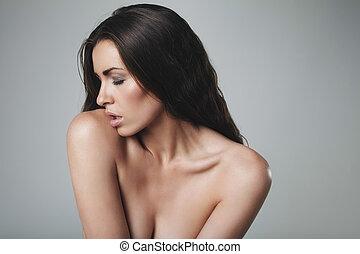 topless, vrouw, verleidelijk, jonge