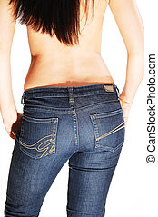Topless woman in jeans.