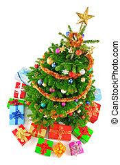 topo, árvore, natal, coloridos, vista
