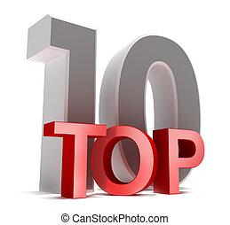 topo, 10., 3d, conceito, isolado