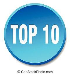 topo, 10, azul, redondo, apartamento, isolado, empurre botão