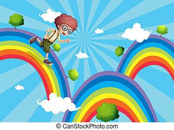 topo, andar, arco íris, menino