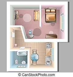 topo, apartamento, vista, interior.