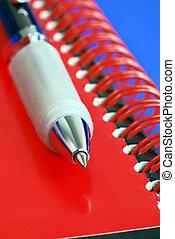 topo azul, isolado, nota, caneta, livro, vermelho