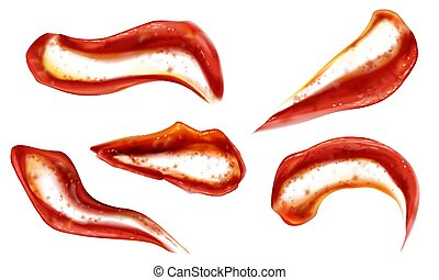 topo, blobs, molho, esguichos, vista, jogo, ketchup, tomate