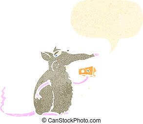 topo, cartone animato, mangiare, retro, formaggio