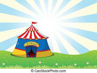topo, circo, colina, barraca