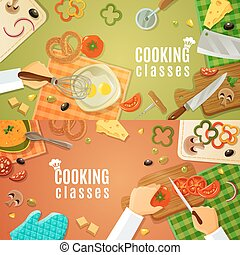 topo, classes, cozinhar, vista