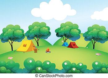 topo, colina, acampamento, barracas