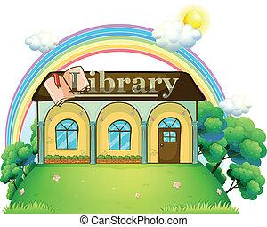 topo, colina, biblioteca