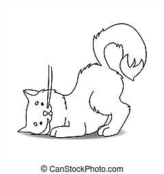topo, contorno, vettore, ricerche, cat., mice., carino, rustling, floor., bianco, ascolta, sotto, libro, gatto, illustrazione, page., braccare, isolato, contorno, coloritura, topi, fondo.