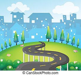 topo, curva, colina, estrada