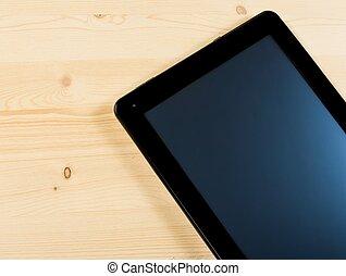 topo, de, vista, de, modernos, pretas, pc tabela, isolado, ligado, madeira, tabela