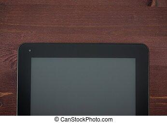 topo, de, vista, de, modernos, pretas, pc tabela, ligado, antigas, madeira, tabela