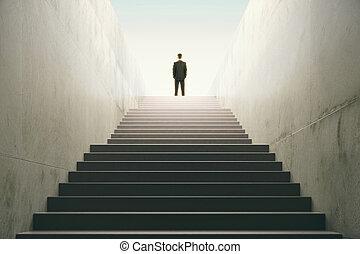 topo, escadas, homem