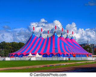 topo grande, barraca circo, em, cores brilhantes