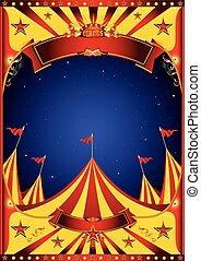 topo grande, circo, céu, noturna