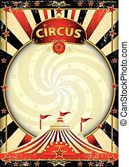 topo grande, circo, raios sol, cartaz