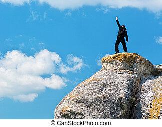 topo, homem, montanha