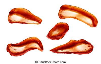 topo, ketchup, blobs, vista, jogo, molho, esguichos, tomate