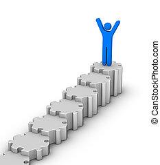 topo, líder, escadaria
