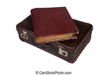 topo, livro, antigas, mala