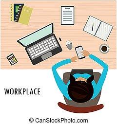 topo, local trabalho, escritório, vista