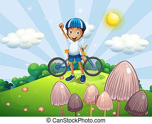 topo, macho, biker, colina