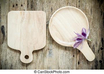 topo madeira, experiência., madeira, prato, vista.