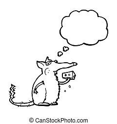 topo, mangiare, cartone animato, formaggio
