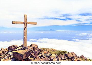 topo montanha, cristão, crucifixos