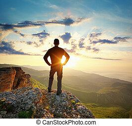 topo montanha, homem