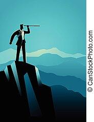 topo montanha, homem negócios, telescópio, usando