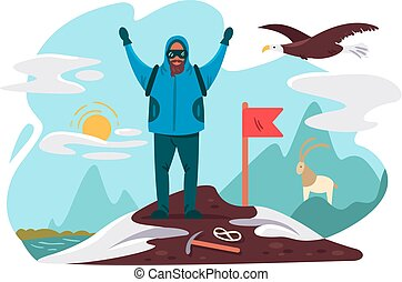 topo montanha, mountaineer, feliz
