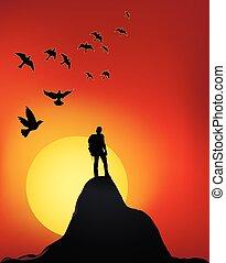 topo montanha, pôr do sol