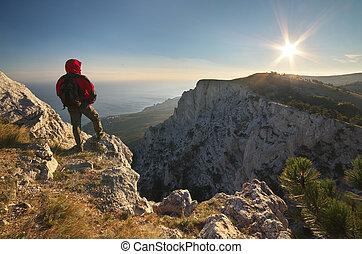 topo, mountain., homem