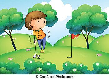 topo, mulher, golfe, tocando, colina