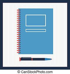 topo, notepad, ilustração, caneta, vetorial, vista.