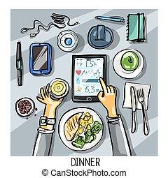 topo, -, pessoa, jantar, fundo, tendo, vista