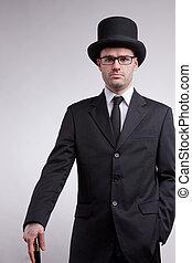 topo preto, chapéu, nerd, senhor