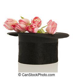 topo preto, chapéu, tulips