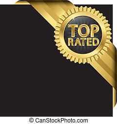 topo, rated, dourado, etiqueta, com, fitas