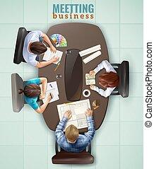 topo, reunião, ilustração, vista