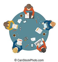 topo, reunião, negócio, vista