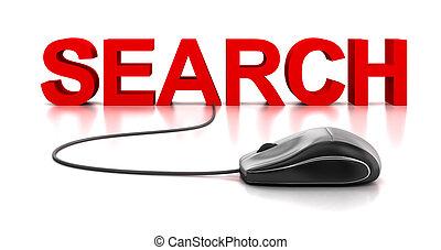 topo, ricerca, computer, parola, 3d