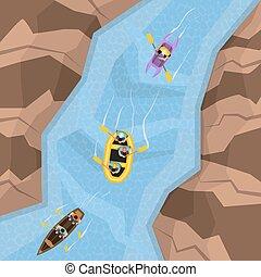 topo, rio, rafting, vista