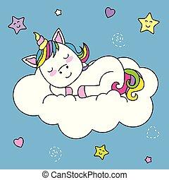 topo, unicórnio, nuvem, dormir